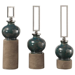 Uttermost Accessories Francis Blue Glaze Bottles S/3