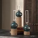 Uttermost Accessories Francis Blue Glaze Bottles S/3