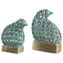 Uttermost Accessories - Statues and Figurines Sama Teal Bird Sculptures, S/2 - Item Number: 18610