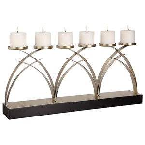 Uttermost Accessories Nikolas Antiqued Silver Candelabra