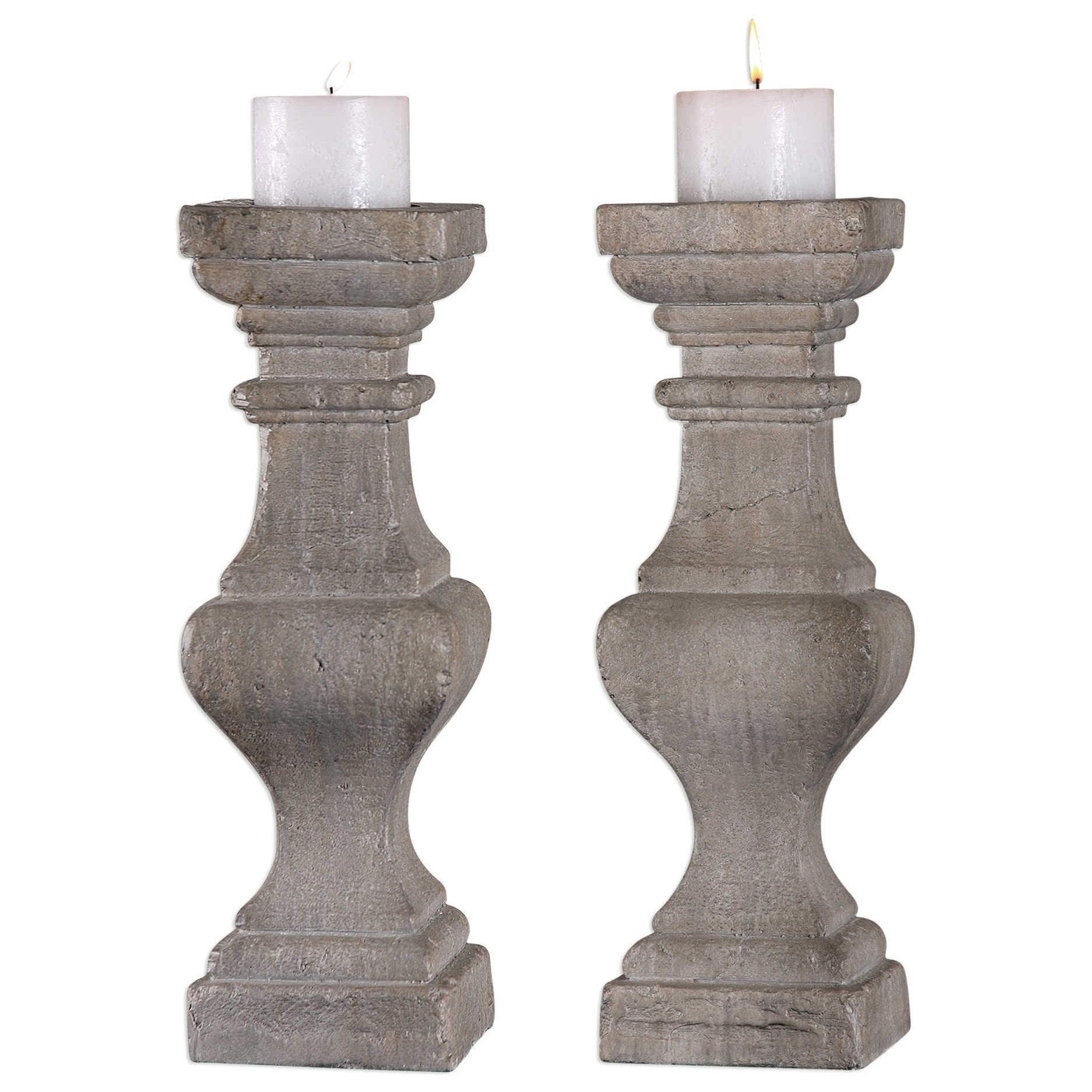 Uttermost Accessories Corin Stone Ivory Candleholders (Set of 2) - Item Number: 18705