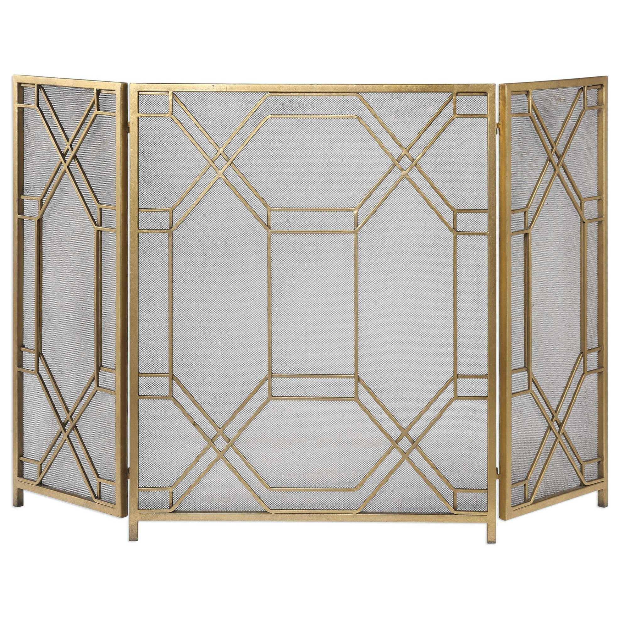 Accessories Rosen Gold Fireplace Screen by Uttermost at Del Sol Furniture
