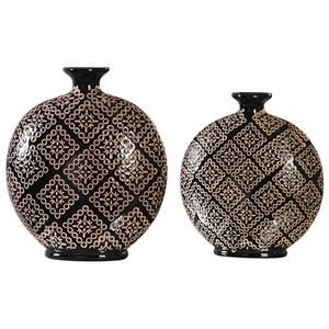 Uttermost Accessories Kelda Black Ceramic Vases (Set of 2)