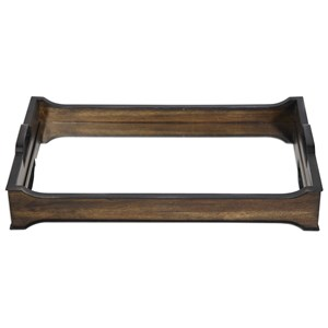 Uttermost Accessories Sylvie Mirror and Wood Tray