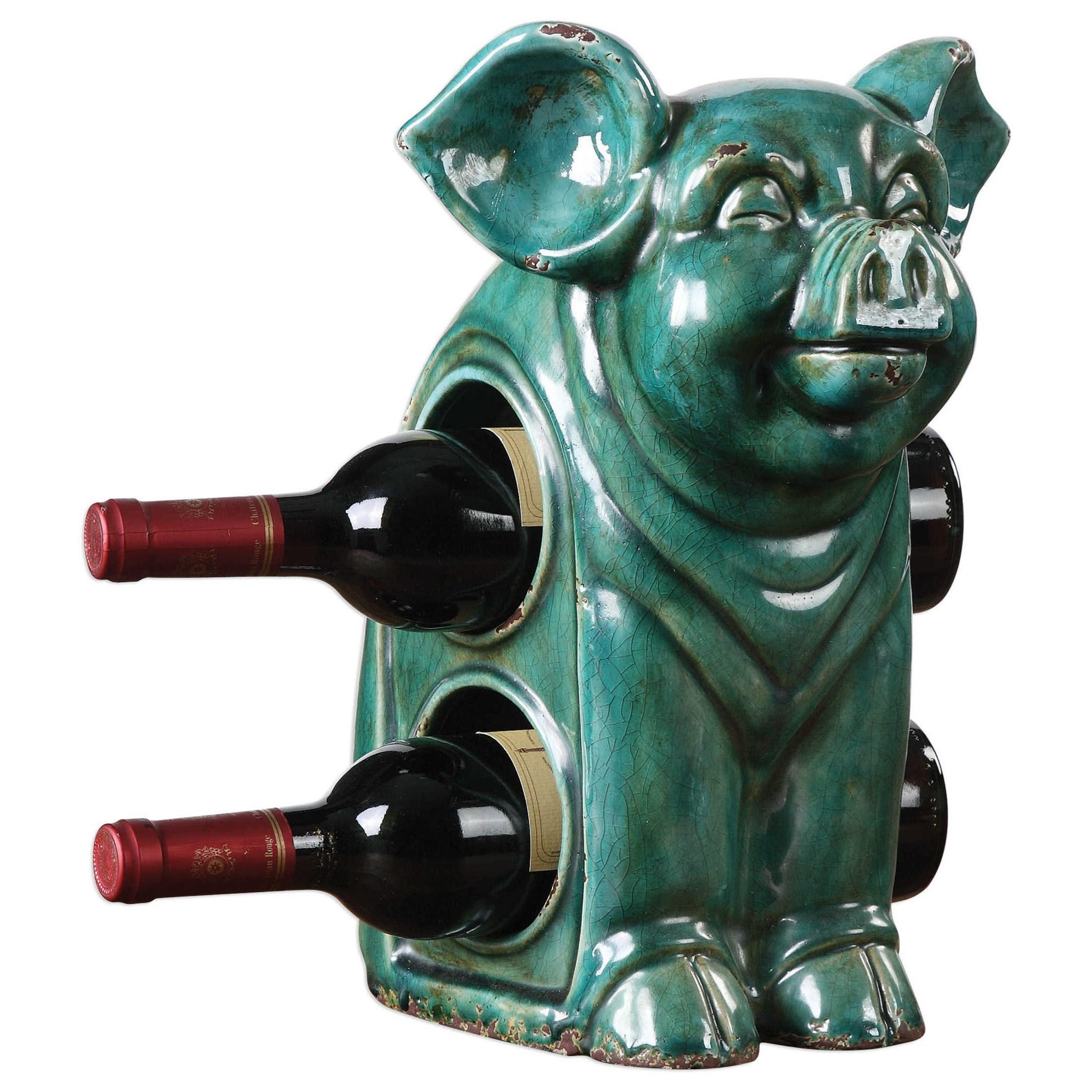 Uttermost Accessories Oink Ceramic Wine Holder - Item Number: 18757