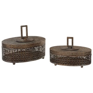Uttermost Accessories Agnese Antiqued Gold Boxes, Set of 2