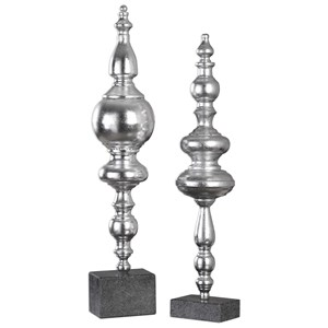 Uttermost Accessories Jeni Metallic Silver Finials (Set of 2)