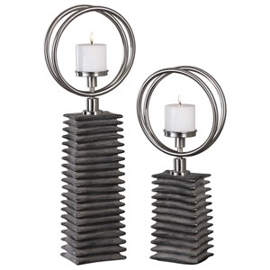 Uttermost Accessories Eugenio Black Ceramic Candleholders