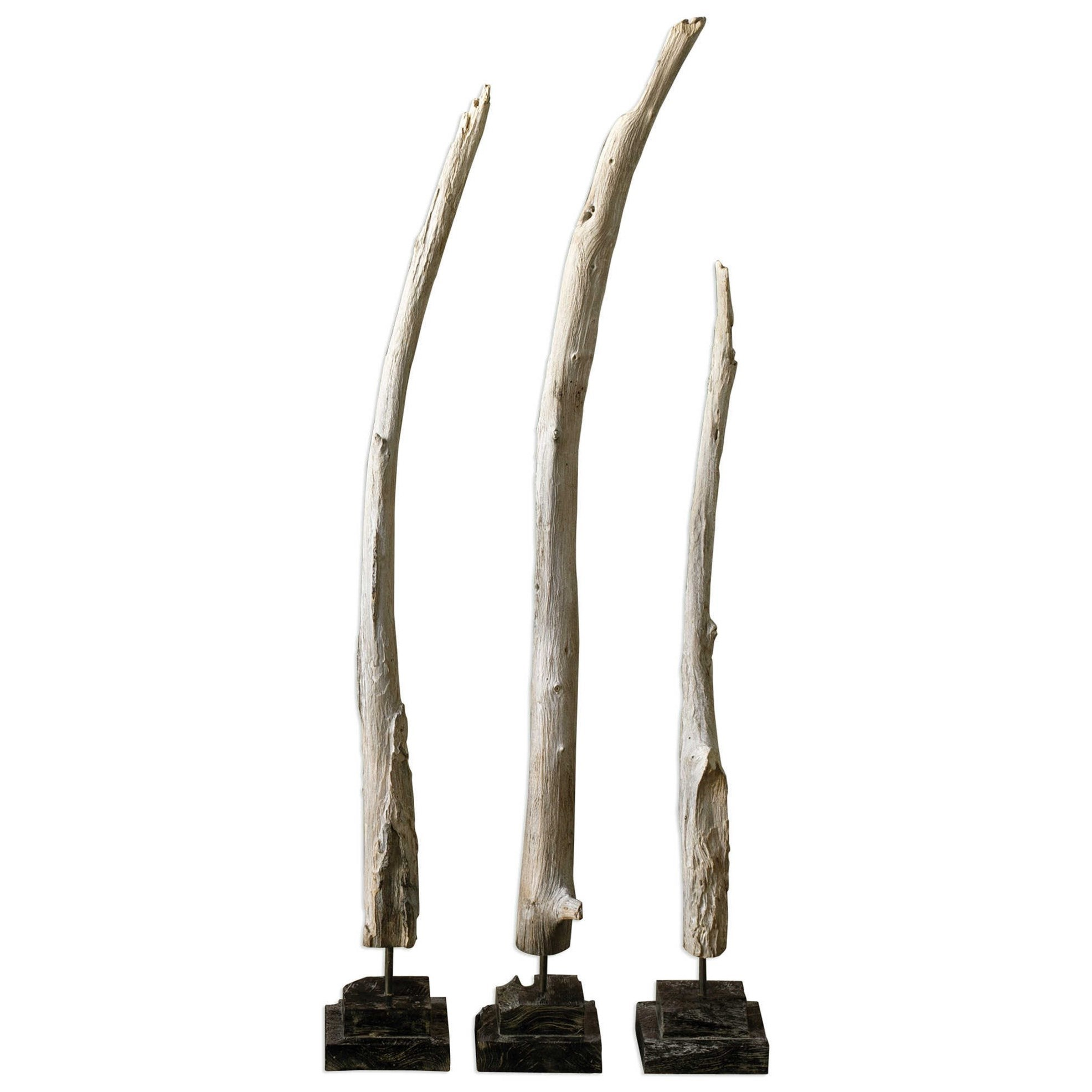 Teak Branches Statues, Set of 3