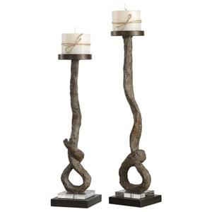 Driftwood Candleholders Set of 2