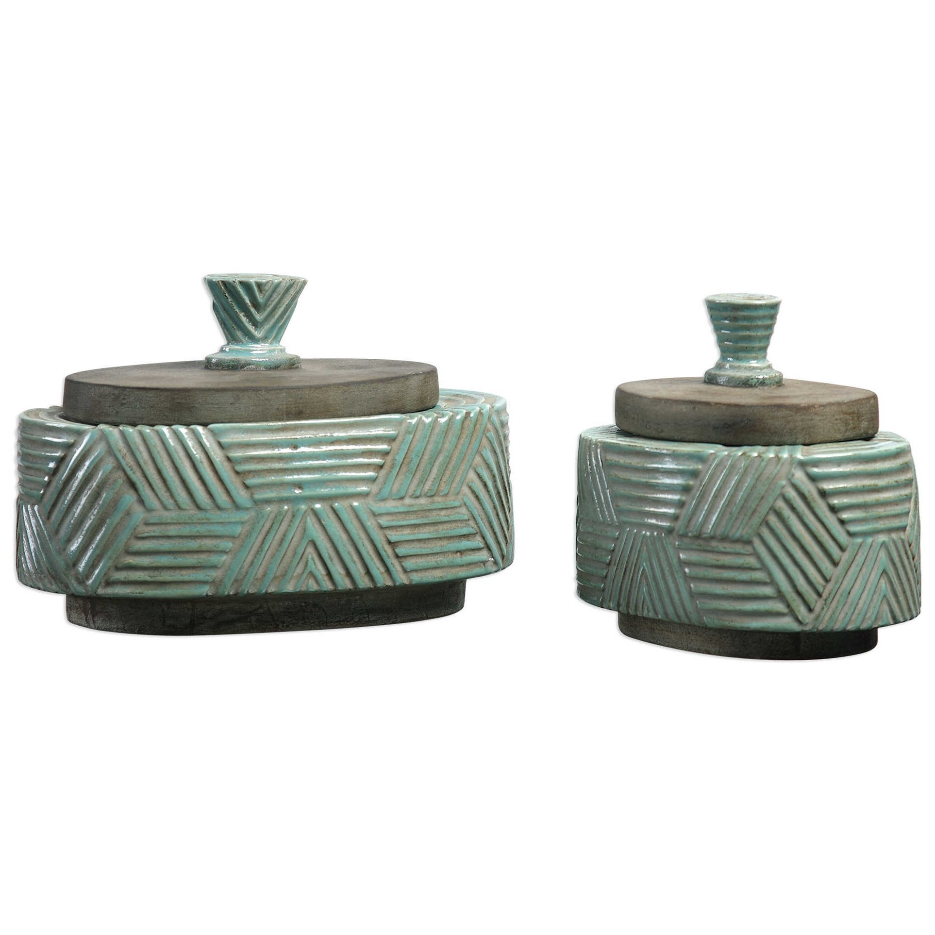 Accessories - Boxes Ruth Ceramic Boxes Set of 2 by Uttermost at Suburban Furniture
