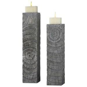 Odion Wooden Log Candleholders Set of 2