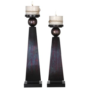 Geremia Oxidized Bronze Candleholders Set of