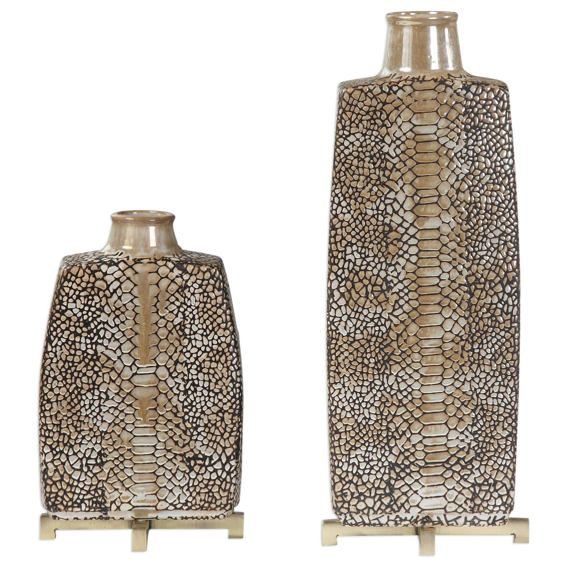 Reptila Textured Ceramic Vases Set of 2