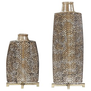 Reptila Textured Ceramic Vases Set of 2