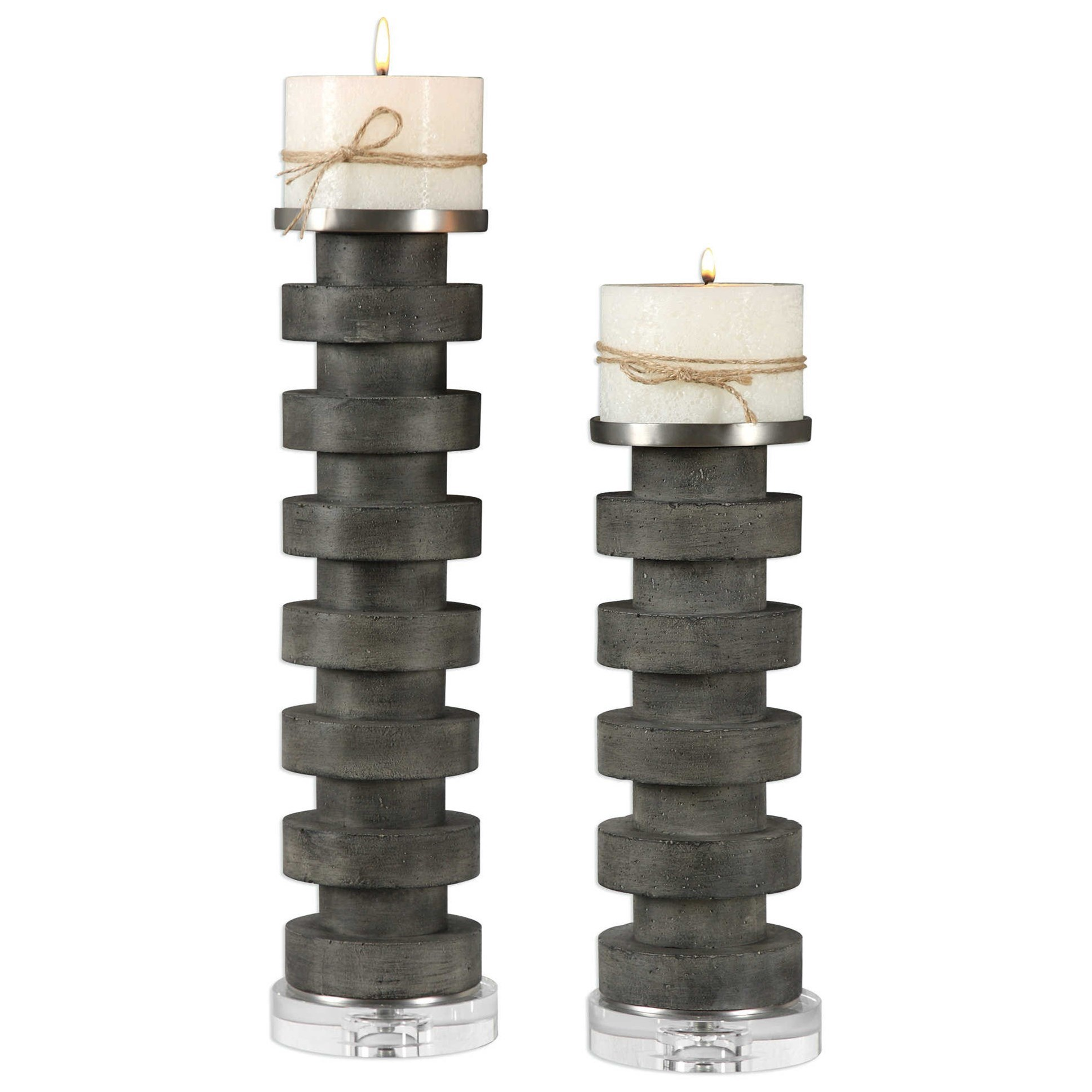 Karun Concrete Candleholders Set of 2