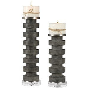 Uttermost Accessories Karun Concrete Candleholders Set of 2