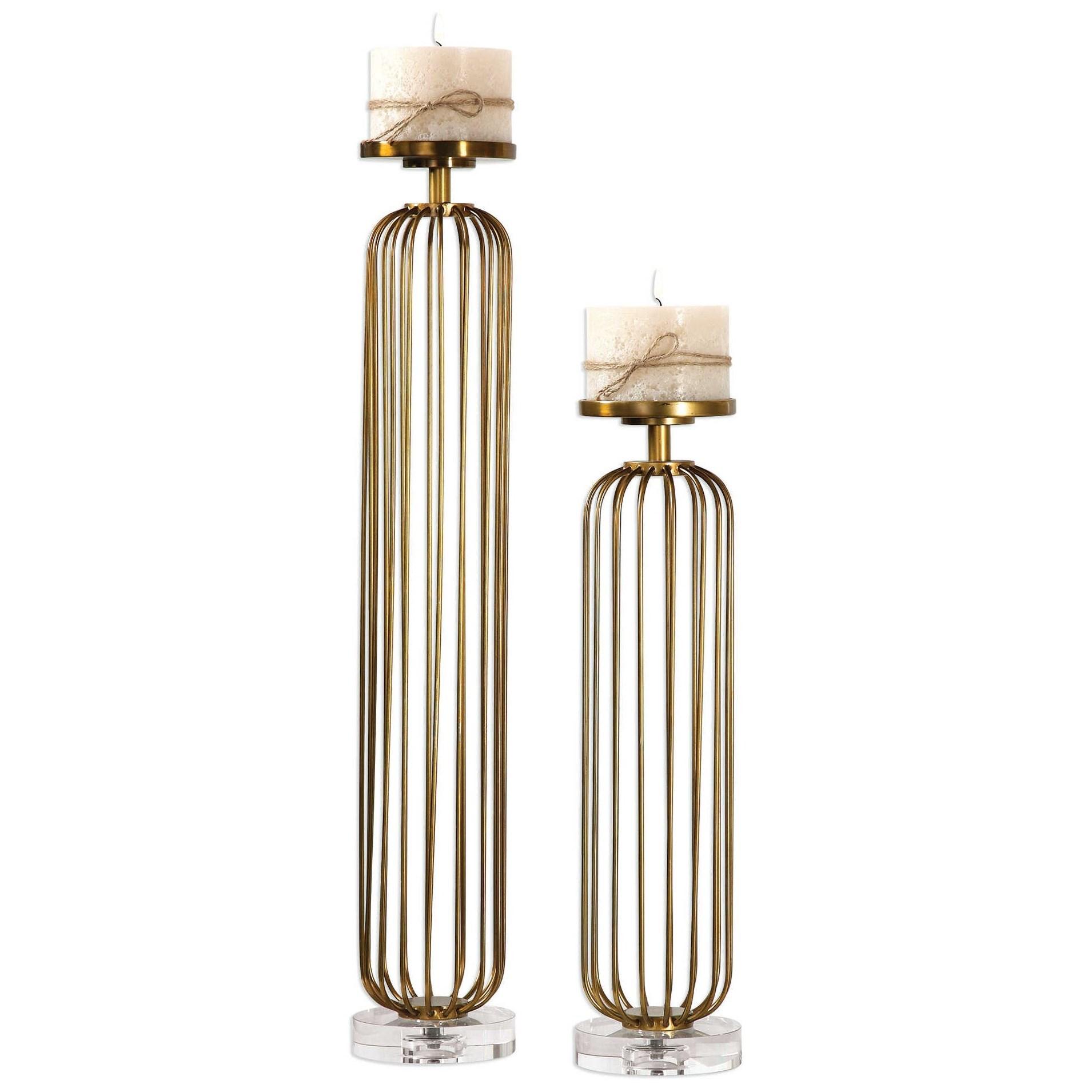 Cesinali Antique Gold Candleholders Set of 2