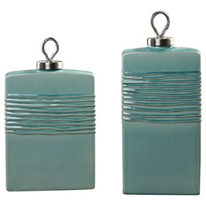 Rewa Green Ceramic Containers Set of 2