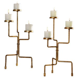 Uttermost Accessories Kavin Gold Candleholders Set of 2