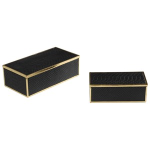 Uttermost Accessories Ukti Alligator Patterned Boxes Set of 2