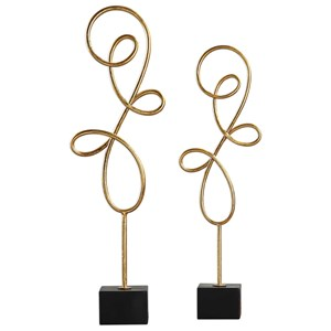 Uttermost Accessories Arka Metallic Gold Sculpture Set of 2
