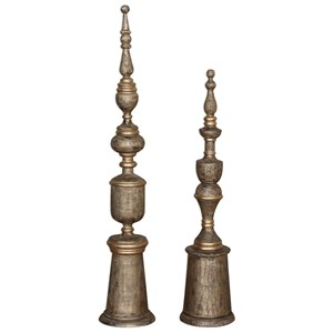 Uttermost Accessories Nalini Antique Gold Finials Set of 2