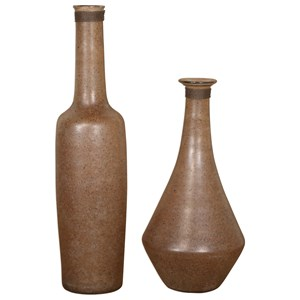 Chandi Smoke Glass & Rust Wash Vases Set of