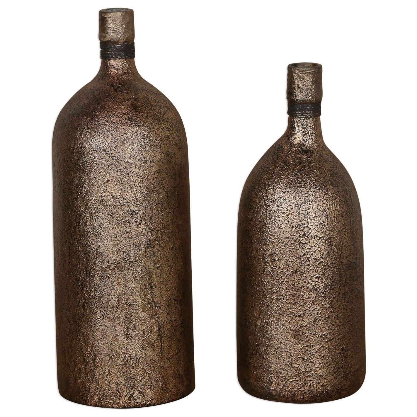 Biren Textured Antiqued Gold Vases Set of 2