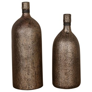 Uttermost Accessories Biren Textured Antiqued Gold Vases Set of 2