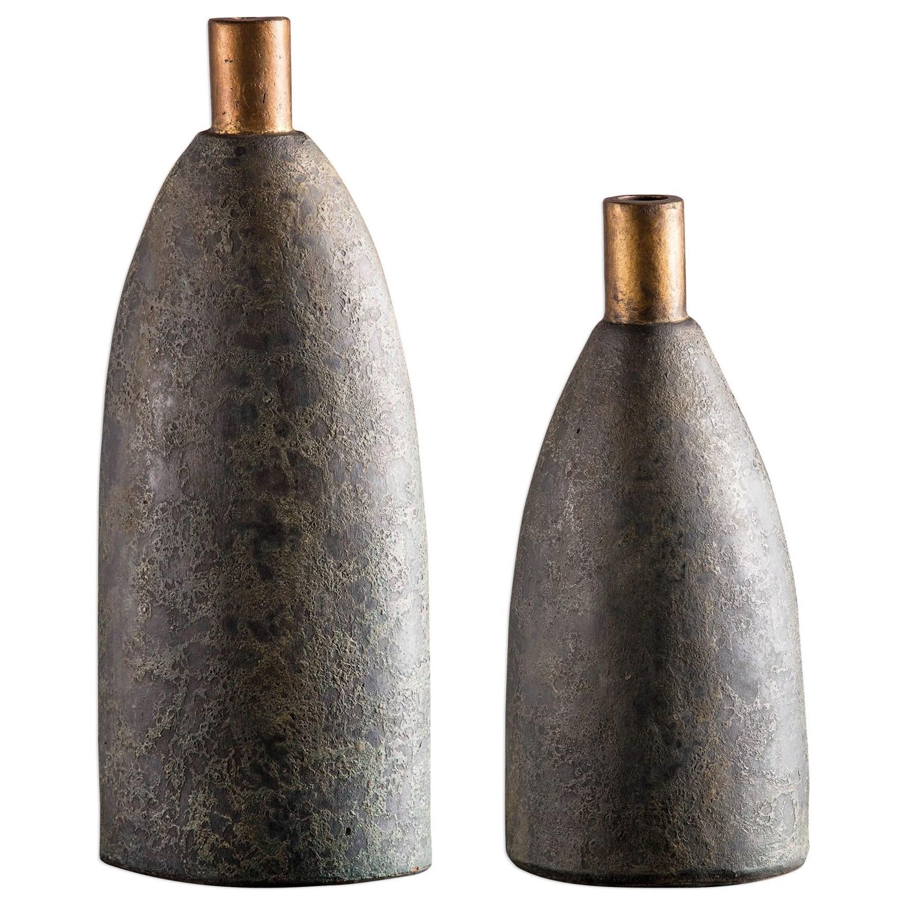 Kasen Charcoal Vases S/2