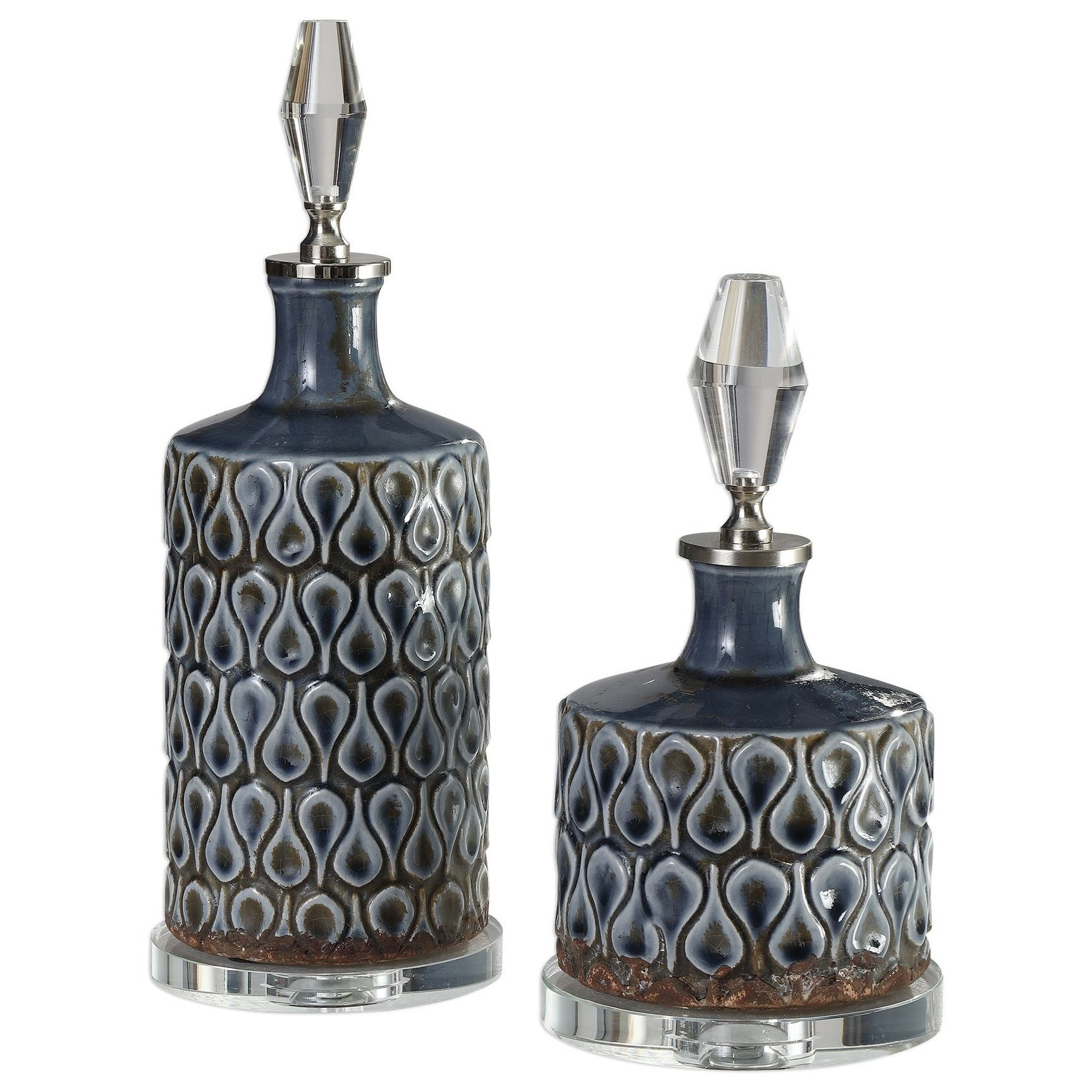Accessories Varuna Cobalt Blue Bottles S/2 by Uttermost at Upper Room Home Furnishings
