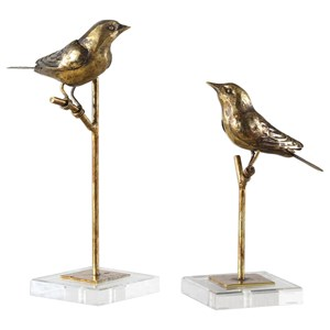 Passerines Bird Sculptures S/2
