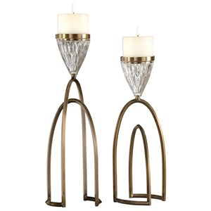 Carma Bronze And Crystal Candleholders