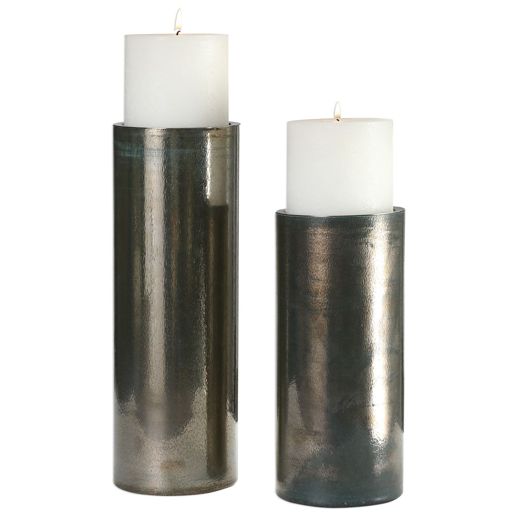 Accessories - Candle Holders Amala Iridescent Candleholders by Uttermost at Dunk & Bright Furniture