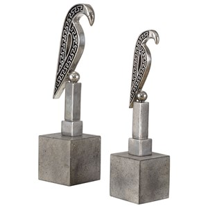 Uttermost Accessories Navya Silver Bird Sculptures S/2