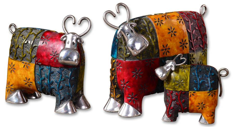 Accessories - Statues and Figurines Colorful Cows Accessories Set of 3 at Becker Furniture