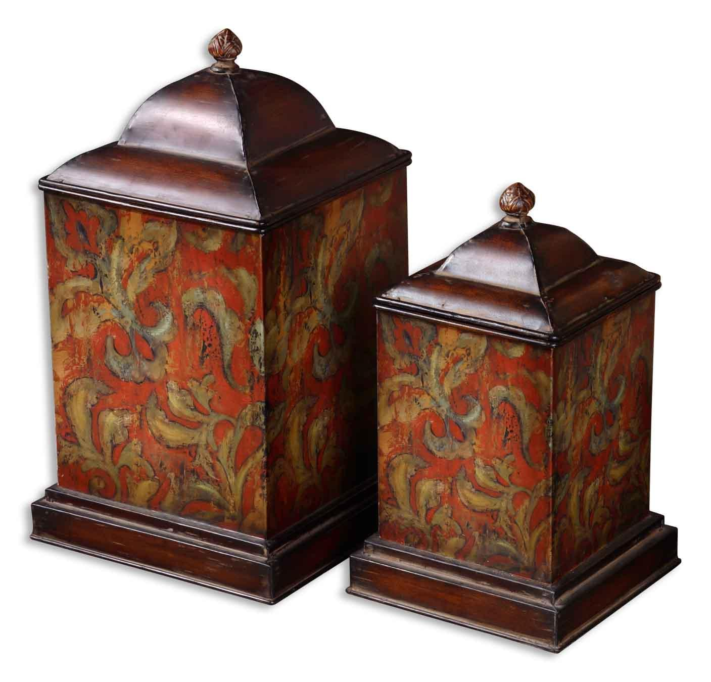 Uttermost Accessories Colorful Flowers Canisters Set of 2 - Item Number: 19166