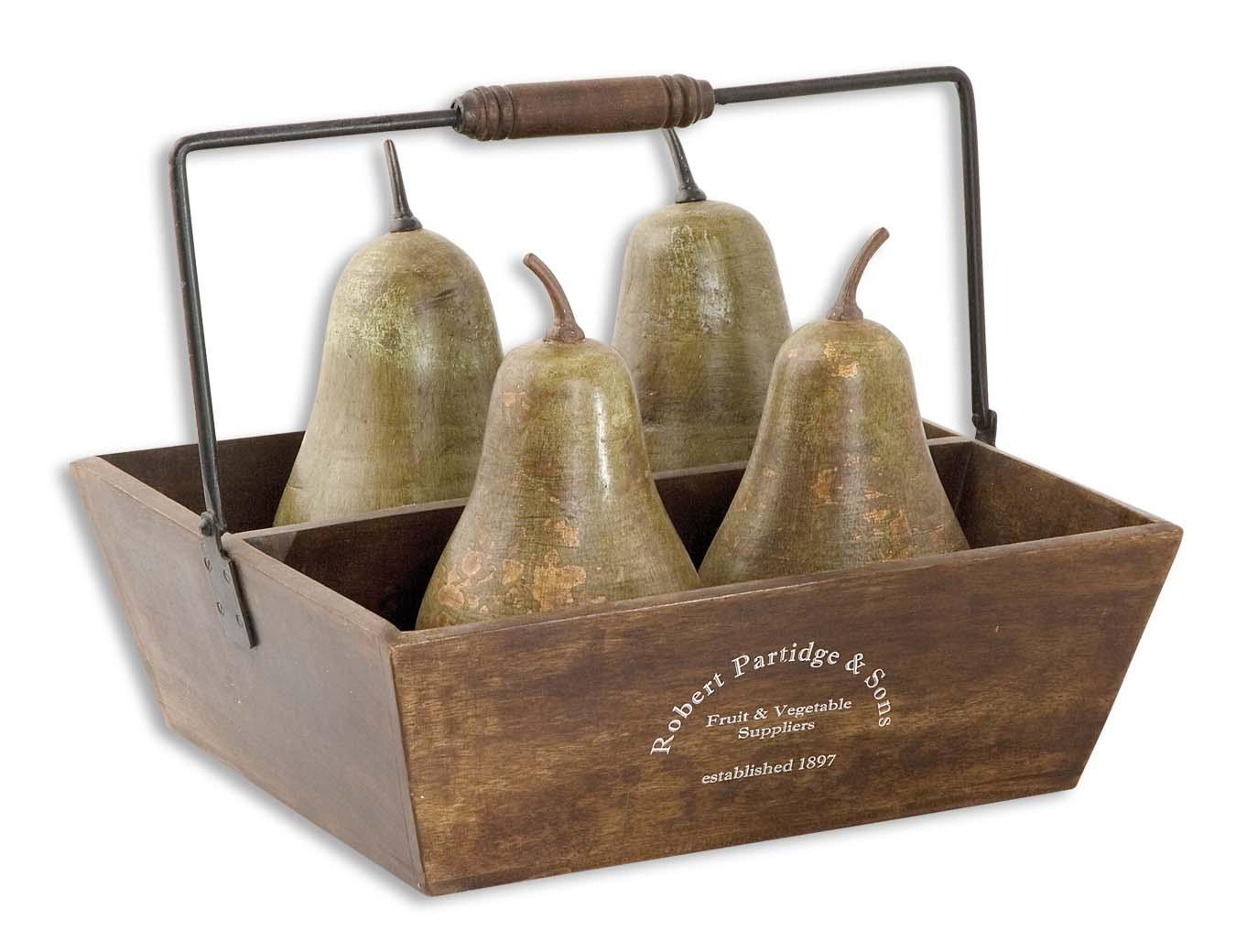 Uttermost Accessories Pears In Basket Set of 5 - Item Number: 19170