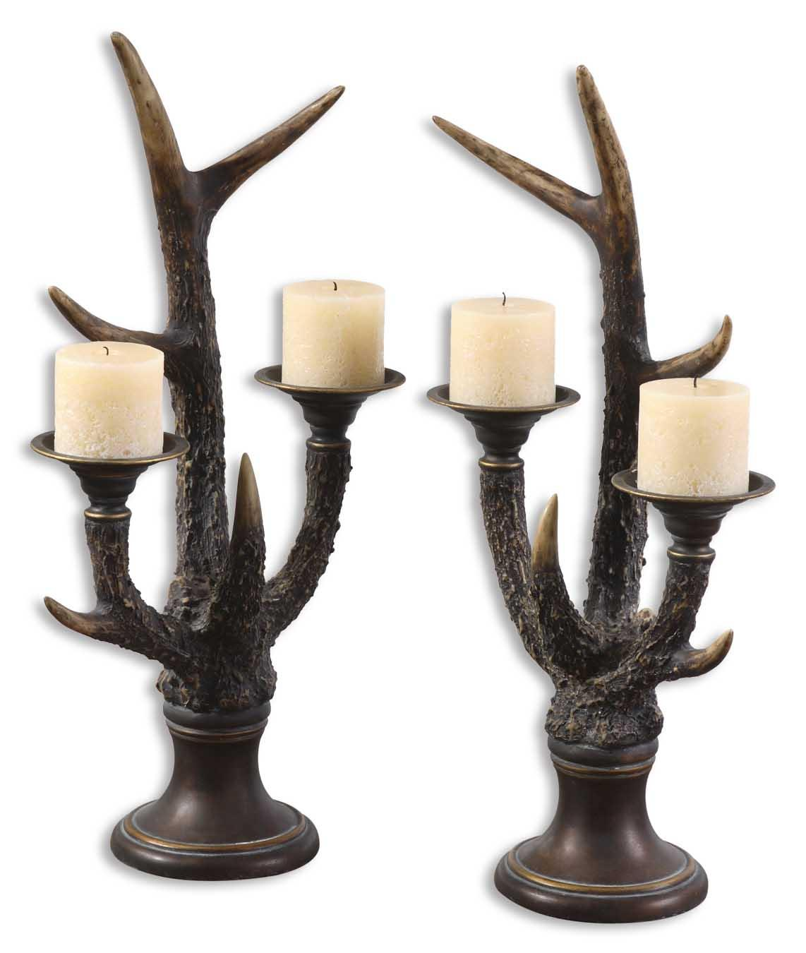 Uttermost Accessories Stag Horn Candleholder Set of 2 - Item Number: 19204