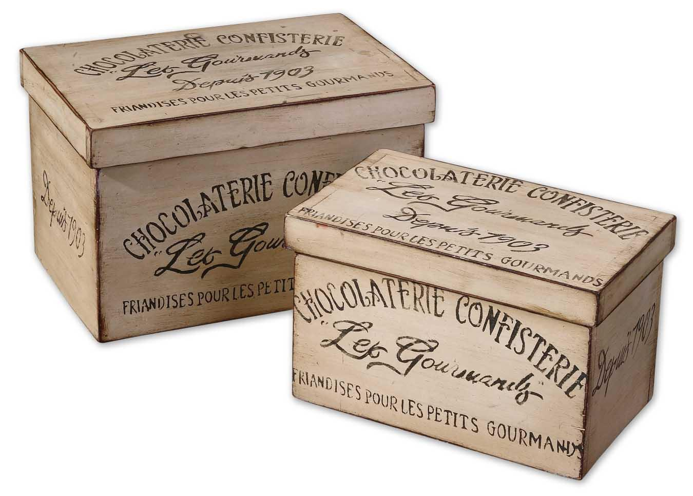 Uttermost Accessories Chocolaterie Boxes Set of 2 - Item Number: 19300