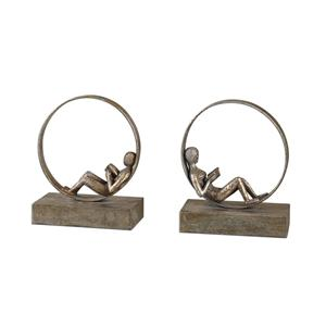 Lounging Reader Bookends Set of 2