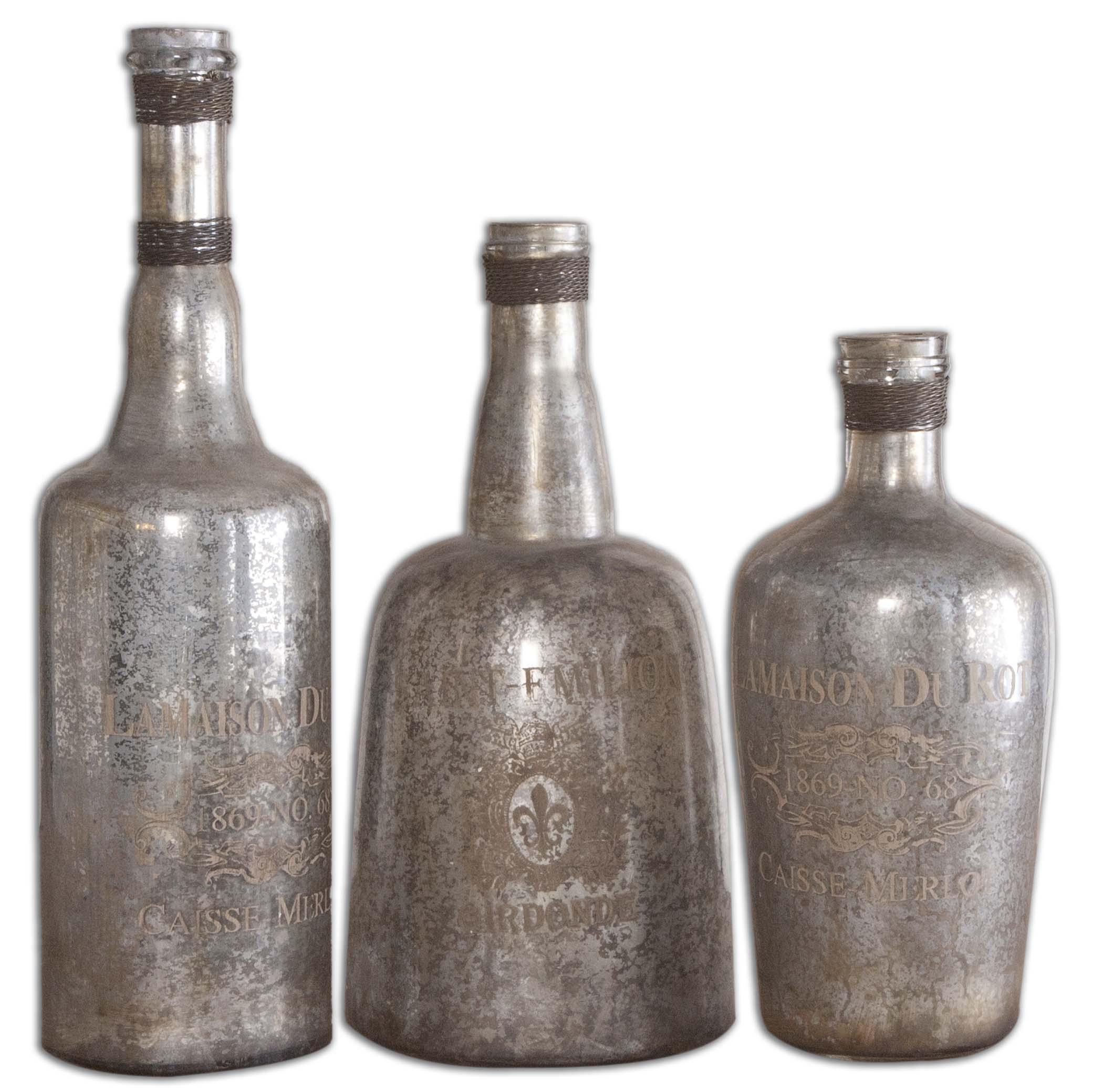 Uttermost Accessories Lamaison Mercury Glass Bottles - Item Number: 19753