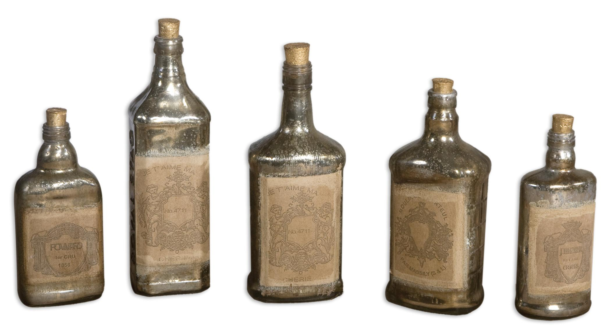Uttermost Accessories Recycled Bottles Set of 5 - Item Number: 19754