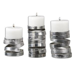 Tamaki Silver Candleholders, Set of 3