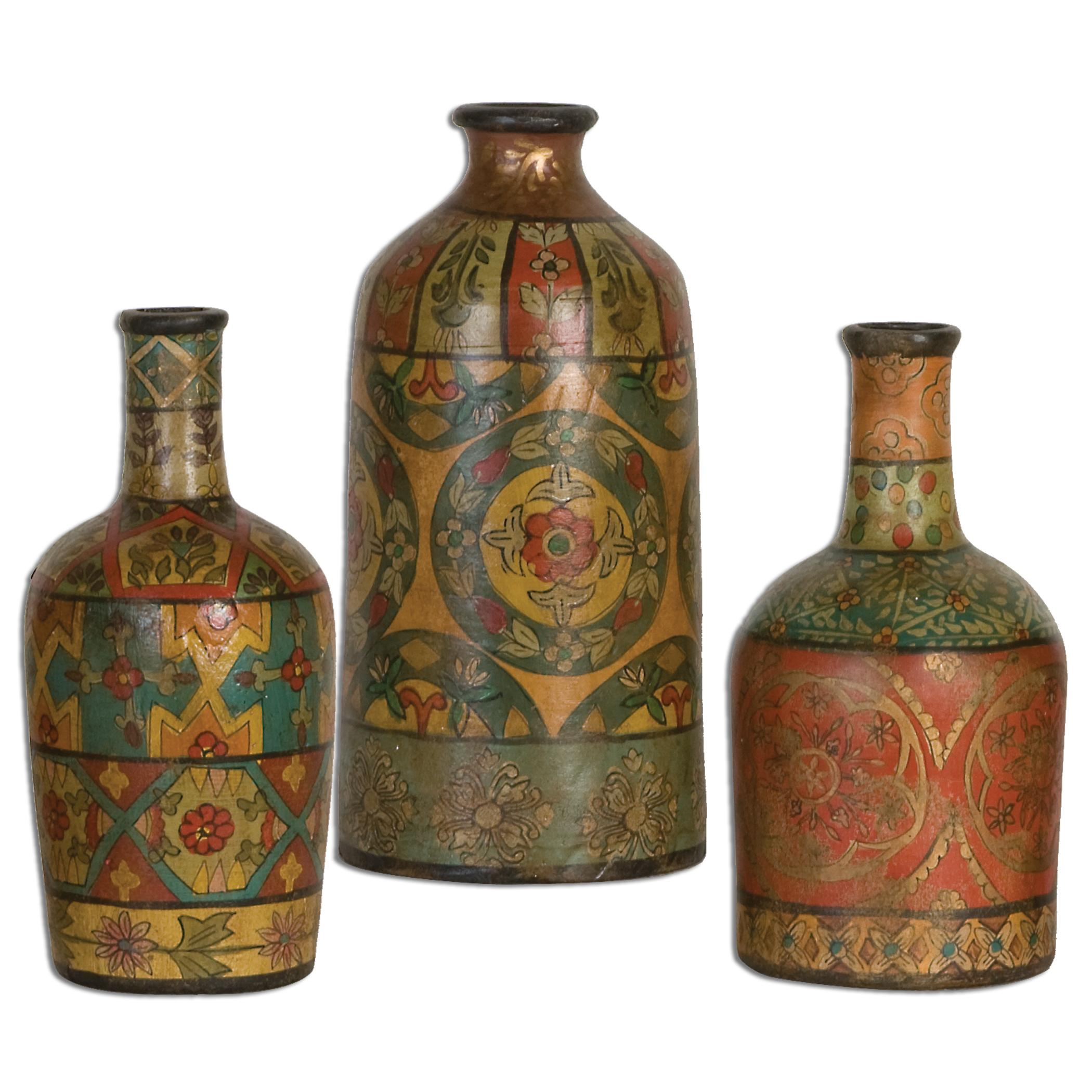 Uttermost Accessories Sachi Terracotta Vases, Set of  3 - Item Number: 19814