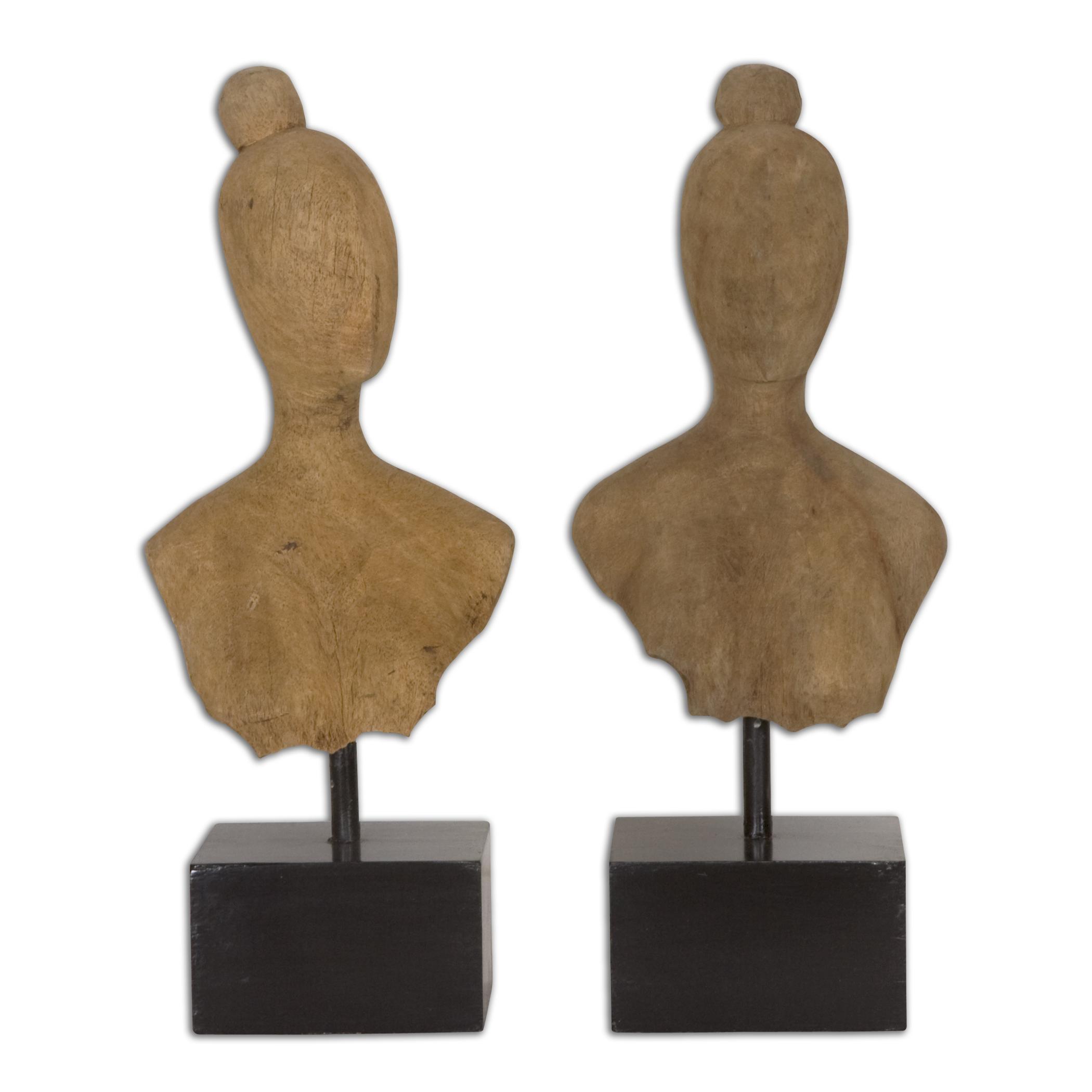Uttermost Accessories Arlie Wooden Sculptures Set of 2 - Item Number: 19821