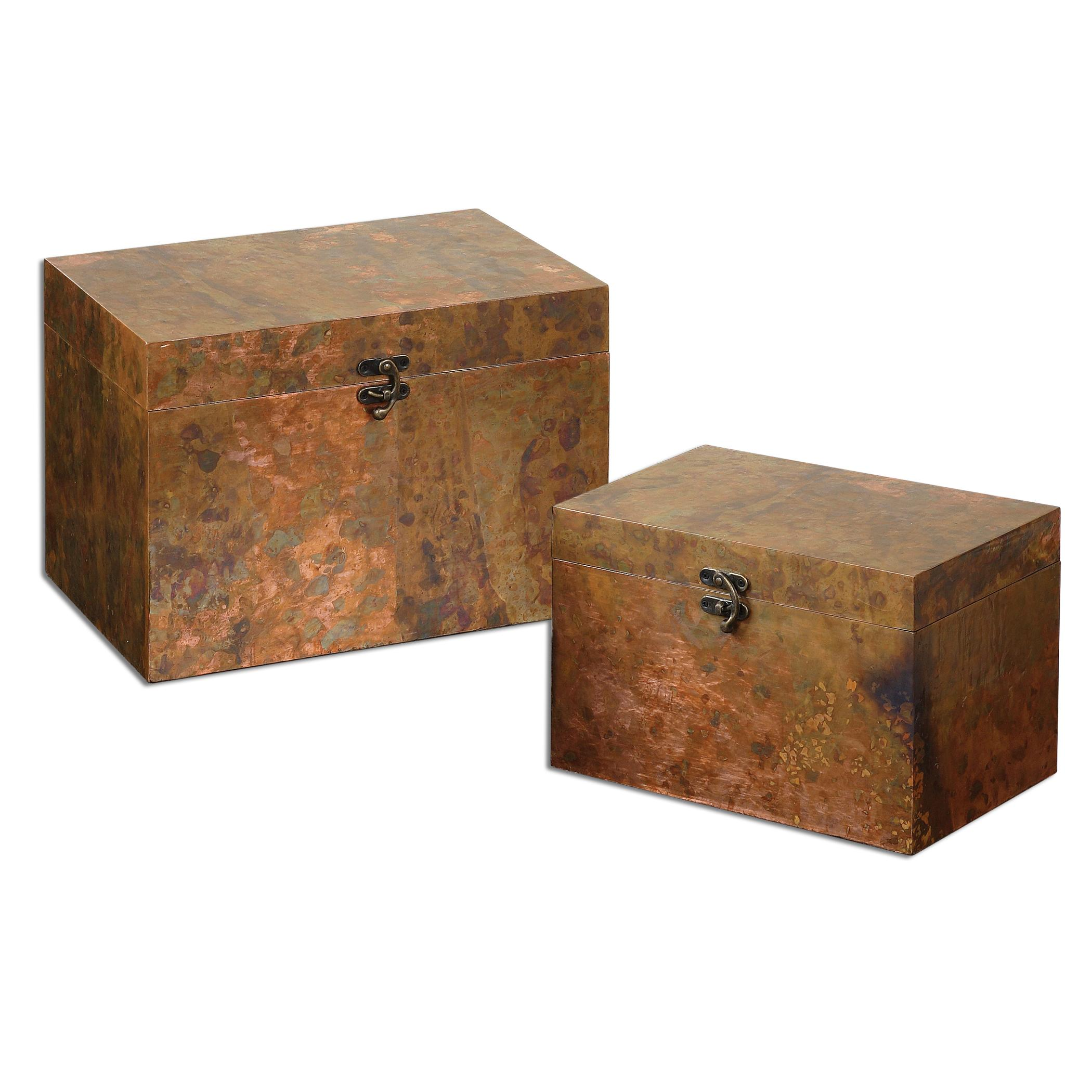 Ambrosia Copper Boxes, Set of  2