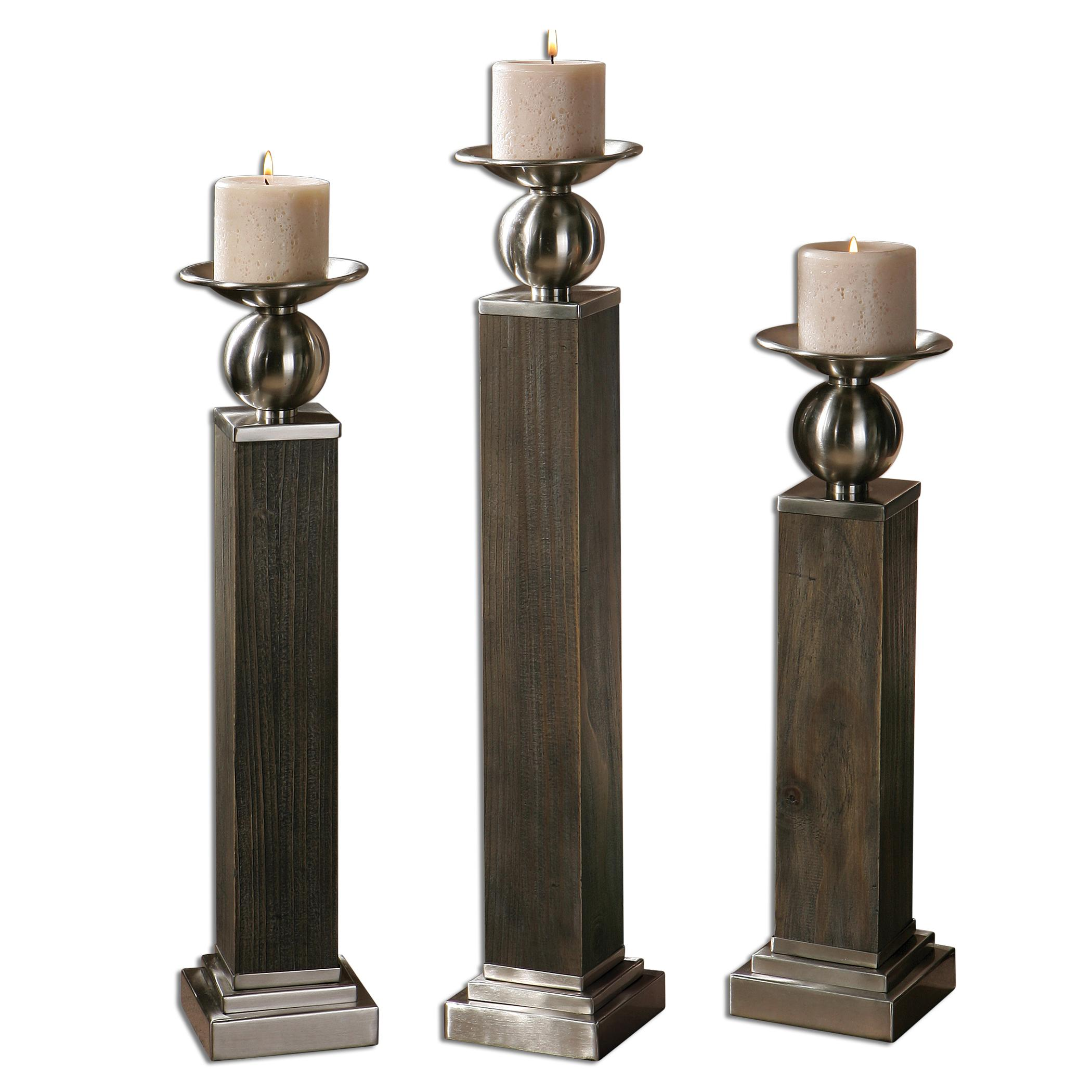 Uttermost Accessories Hestia Wood Candleholders, Set of  3 - Item Number: 19832