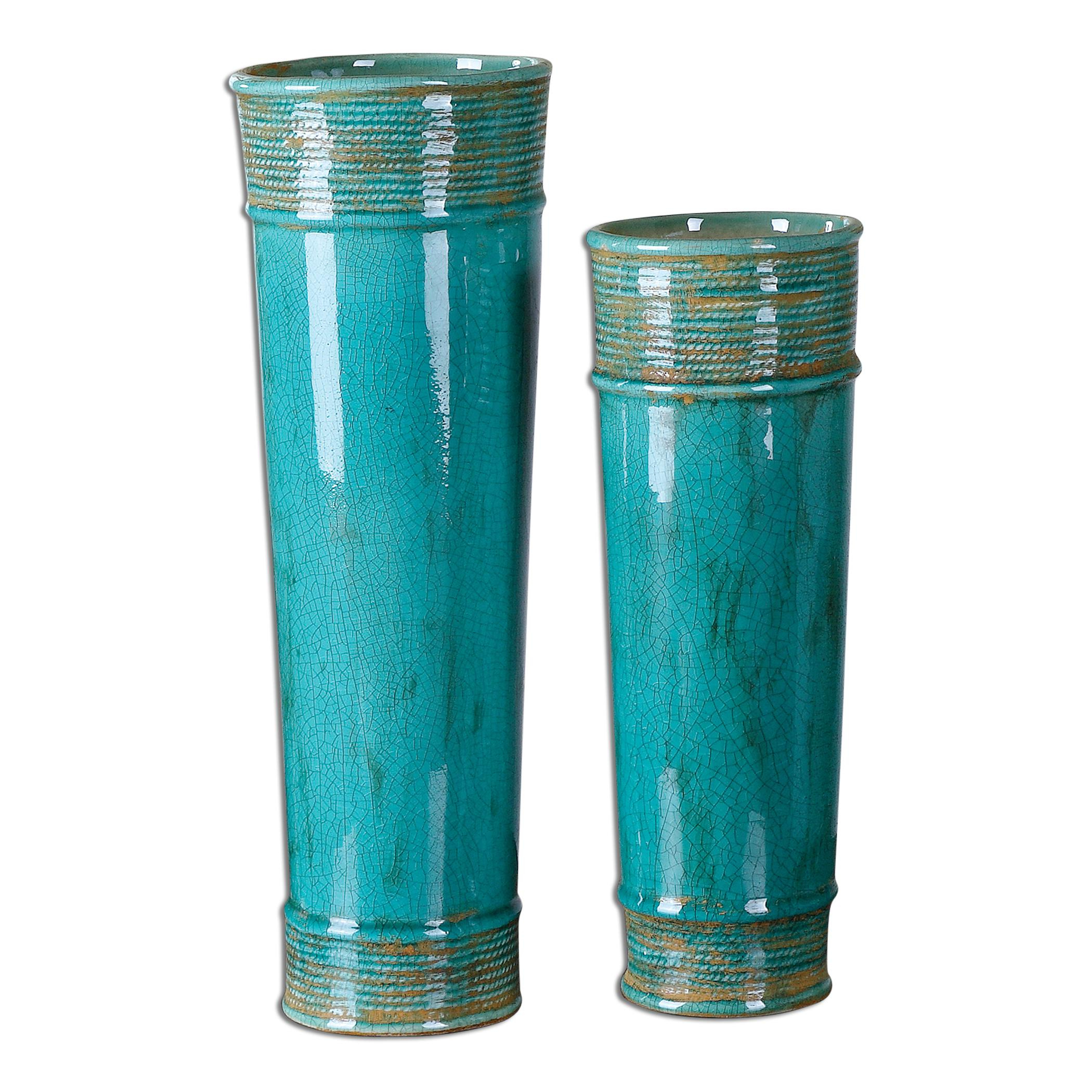 Uttermost Accessories Thane Teal Green Vases, Set of  2 - Item Number: 19835